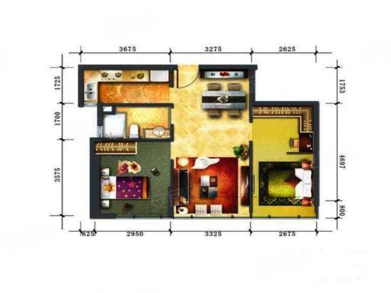 50平方二室一厅平面图图片 50平二室一厅loft装修,54平方二
