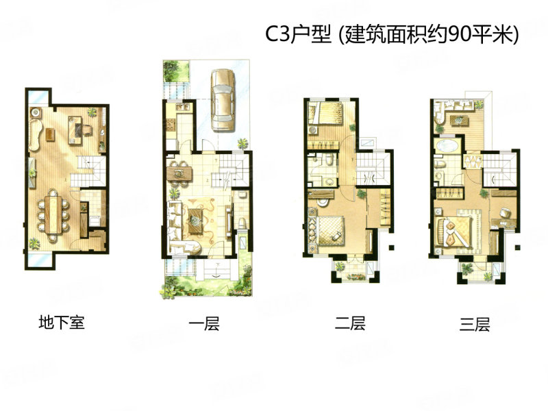 90平经济型别墅 绿地布鲁斯小镇C3户型样板间