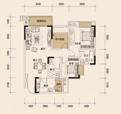 卧室均有飘窗设计.大面积景观阳台观景效果良好.该户型厨房面积约