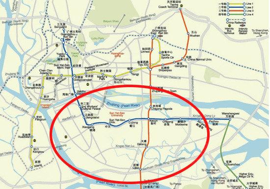 地铁线路在海珠区交汇情况(圈内为海珠区)-5年建成海珠生态城 区域图片