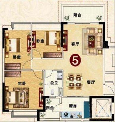 户型优点:   恒大城26栋3室2厅1卫106.00平米户型,该户型整
