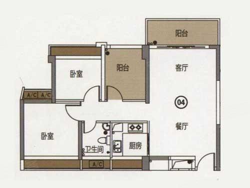 80平米2+1房户型图-90后置业首选 80平米户型实现你的业主梦图片